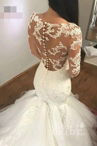 Mermaid Sleeves V Neck Long Lace Appliques Wedding Dress_2