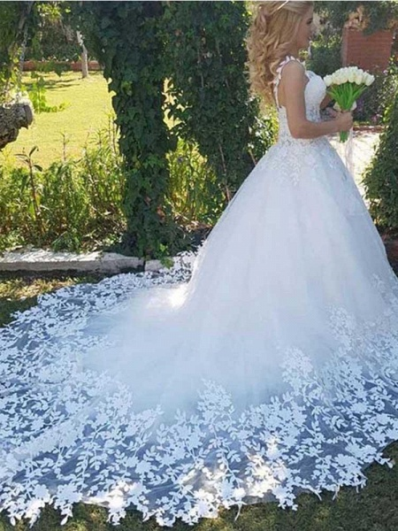 Sweetheart Appliques Ball Gown Wedding Dresses_1