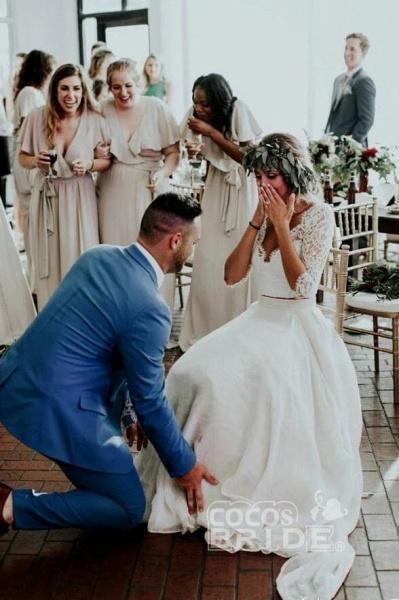 Ivory Chiffon Rustic Cheap 3/4 Sleeves Two Piece Wedding Dress_4