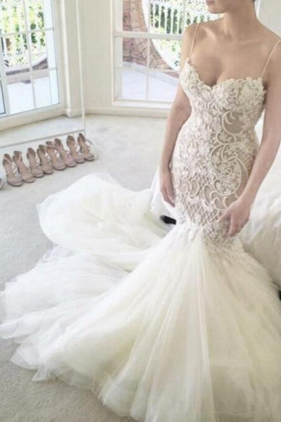 Ivory Mermaid Backless Spaghetti Straps Court Train Lace Tulle Wedding Dress_1