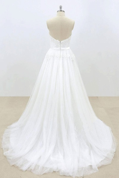 Sweetheart White Tulle Strapless Lace Wedding Dress_3