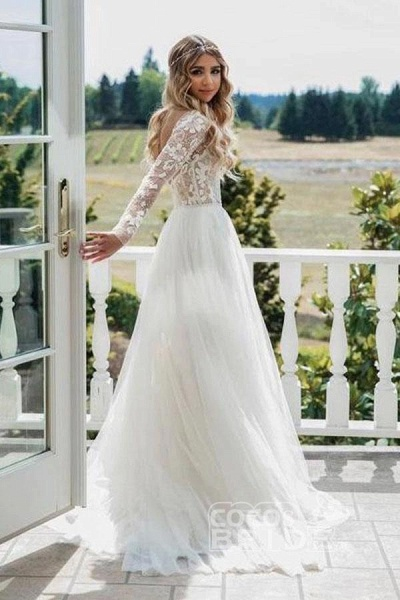 Chic A-line Long Sleeve Lace Backless Country Wedding Dress_6