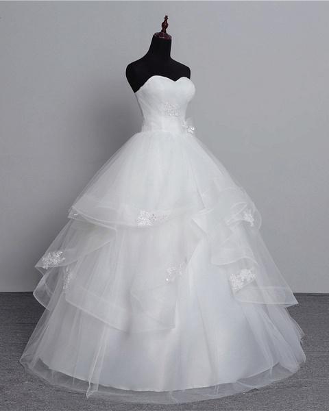 White Tulle Layered Strapless Vintage Wedding Dress_5