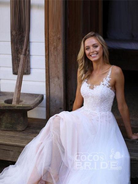 V-Neck Lace Tulle Wedding Dresses_4