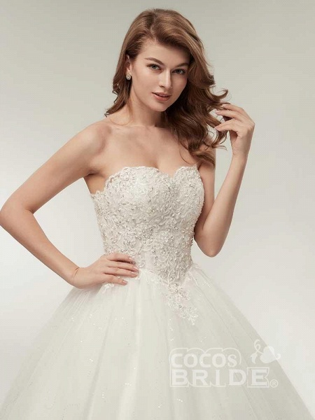 Elegant Sweetheart Beaded Lace-Up Ball Gown Wedding Dresses_4