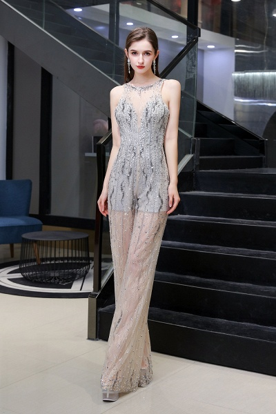 Jewel Sleeveless Tulle Evening Jumpsuit with Sequins_10