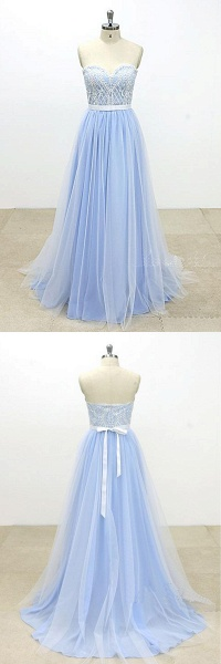 Aqua Blue And Ivory Tulle Strapless Long Lace Wedding Dress_4