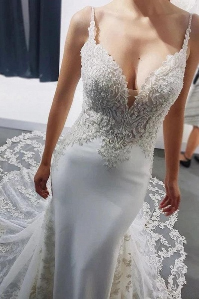 Straps Mermaid Sleeveless Appliques Beach Wedding Dress_1