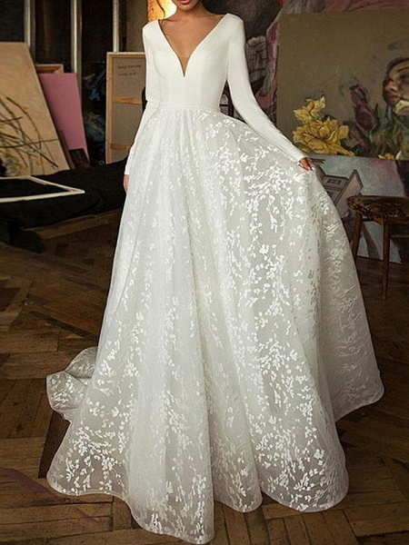 Elegant V-Neck Covered Button A-Line Wedding Dresses with Long Sleeves_1