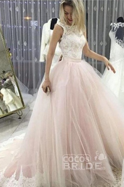 Pale Pink Court Train with Lace Appliques Sleeveless Wedding Dress_2