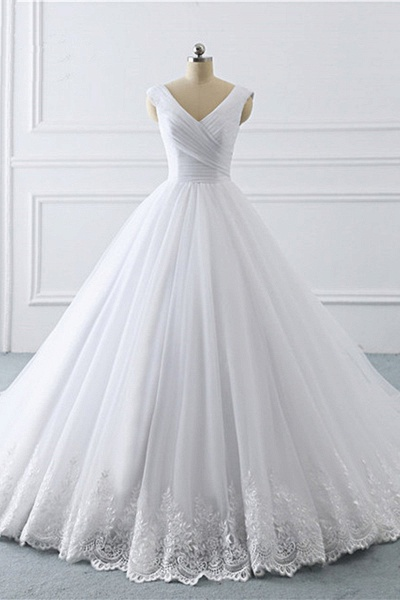 Unique White Lace V Neck Puffy Sweep Train Wedding Dress_1