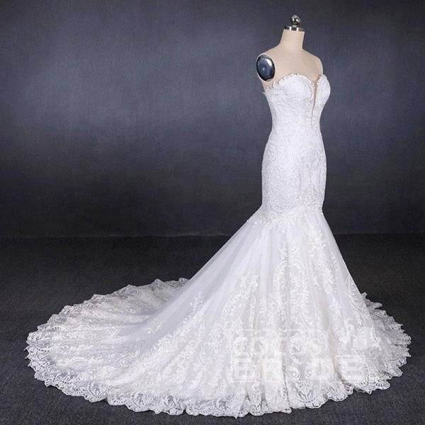 Sweetheart Long Strapless Mermaid Lace Wedding Dress_4