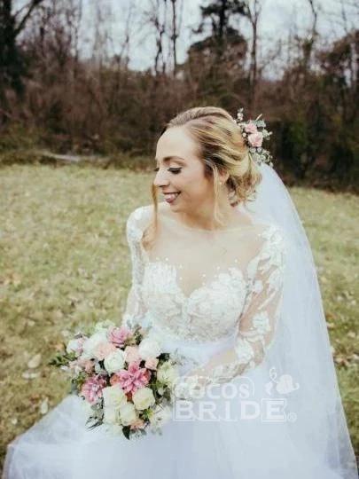 Vintage Illusion Long Sleeve Lace Boho Tulle Wedding Dress_2