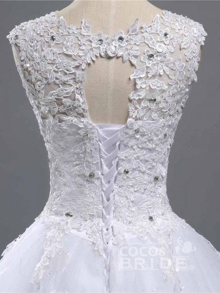 Elegant Beads Lace-Up Ruffles Wedding Dresses_5