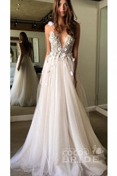 Deep V-neck Beading Straps Tulle Appliques A-line Custom Beach Wedding Dress_10