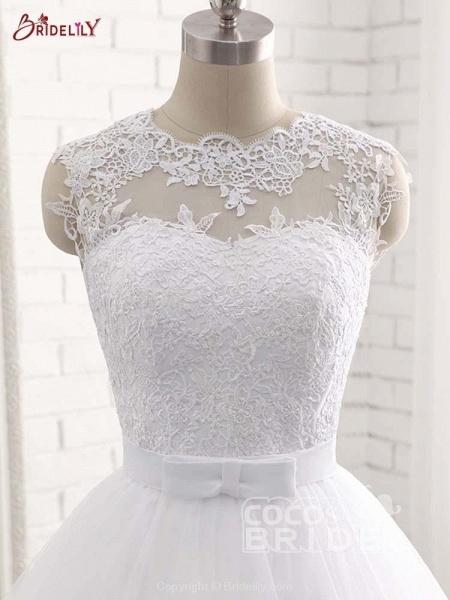 Elegant V-Neck Ball Gown Tulle Wedding Dresses_5