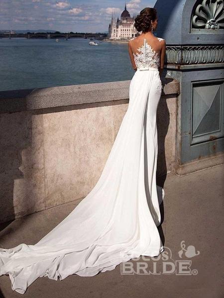 Popular Appliques Sweep Train Mermaid Wedding Dresses_2