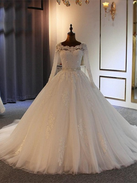 Exquisite Bowknot Ball Gown Wedding Dresses with Long Sleeves_1
