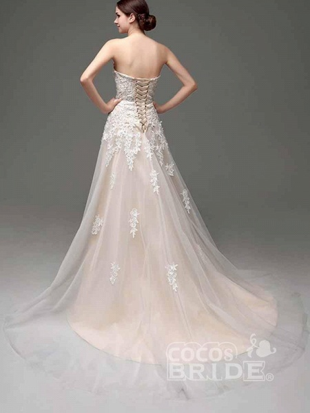 Elegant Sweetheart Beaded Lace Tulle Wedding Dresses_2