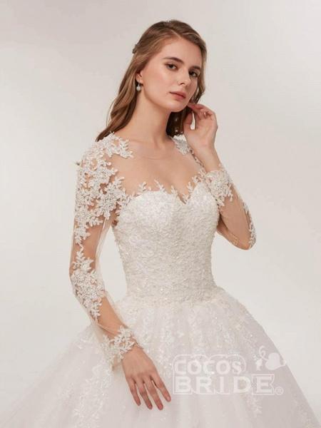 Elegant Long Sleeves Lace Appliques Wedding Dresses_4