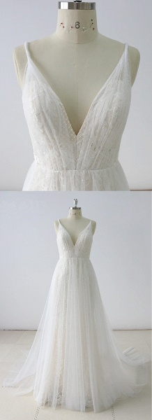 Simple White Lace V Neck Long Halteres Long Wedding Dress_4