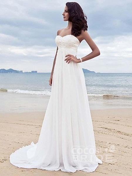 High Waist Elegant Sweetheart Ruffles Wedding Dresses_2