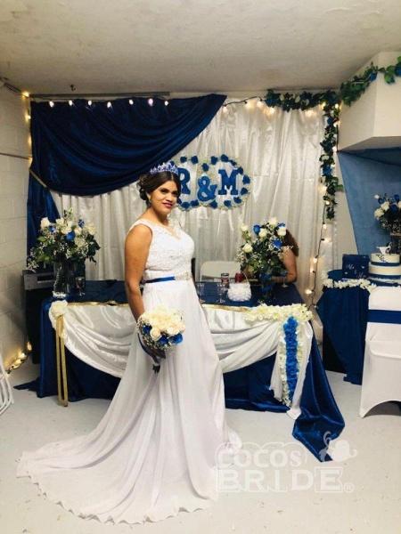 O-Neck Appliques A-Line Wedding Dresses_5