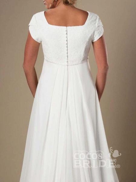Elegant Square Cap Sleeves A-Line Ruffles Wedding Dresses_4