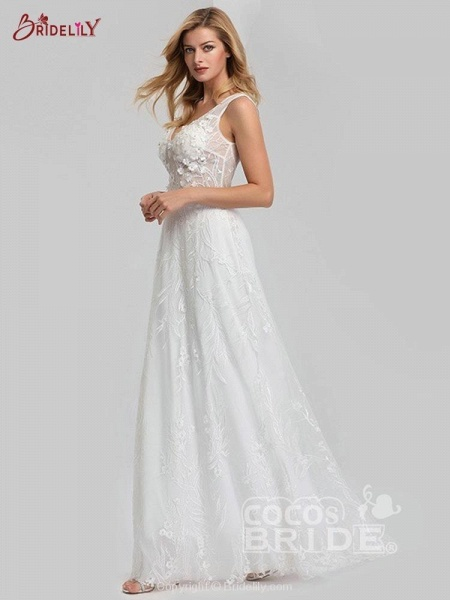 Elegant V-Neck Lace Wedding Dresses_4