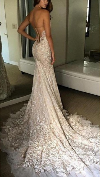 Luxurious Sweetheart Strapless Lace Trumpet Court Train Wedding Dress_2