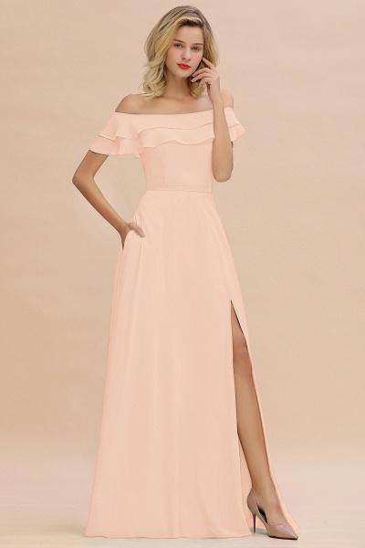 BM0775 Off-the-Shoulder Front Slit Mint Green Long Bridesmaid Dress_5