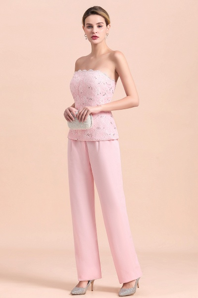 Strapless Lace Appliques Mother of Bride Jumpsuit with Long Sleeves Wraps_9