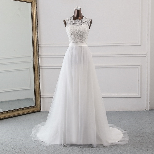 Elegant Long A-line Jewel Tulle Wedding Dress with Appliques Lace_6