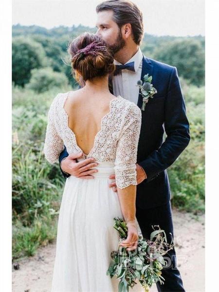 Romantic V Neck Chiffon Lace A Line Wedding Dresses_6