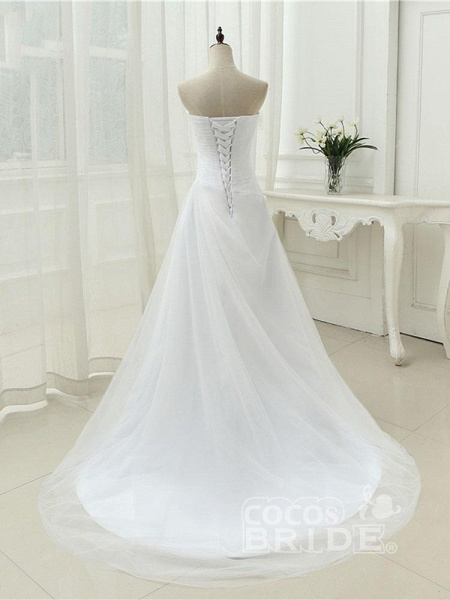 Gorgeous Strapless Ruffle Beaded Tulle Wedding Dresses_2