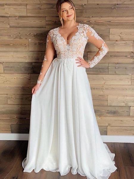 Gorgeous V-Neck Long Sleeves Lace Ruffles Wedding Dresses_1