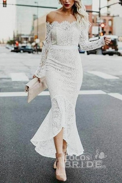 High Low Long Sleeves Mermaid Off the Shoulder Lace Wedding Dress_2