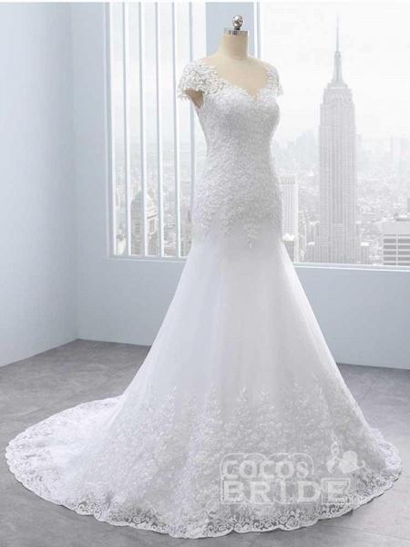 Cap Sleeves Lace Mermaid Tulle Wedding Dresses_2