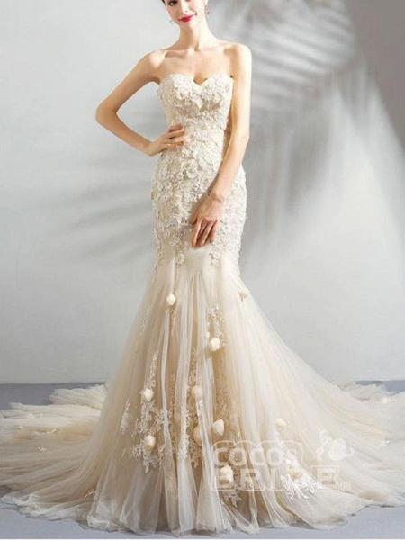 Sweetheart Sleeveless Mermaid Wedding Dresses_2
