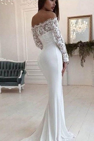 Mermaid Long Sleeves Off the Shoulder Wedding Dress_1