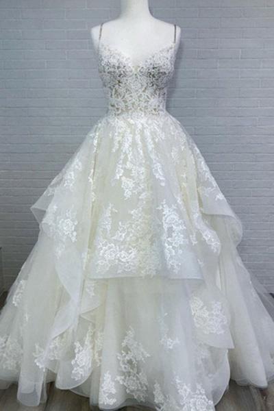 White Spaghetti Long Layered Lace White Beach Wedding Dresses_1