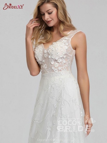 Elegant V-Neck Lace Wedding Dresses_5