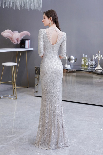 Gorgeous Silver Long sleeves Long Prom Dress_9
