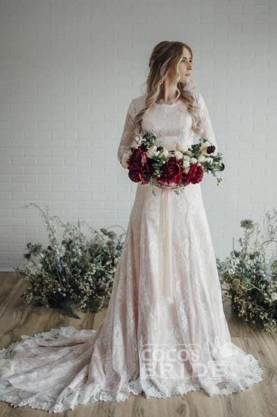 A Line Long Sleeve Lace Vintage Wedding Dress_2