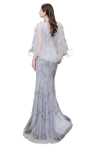 Gorgeous Silver Feather Cape Mermaid Sparkle Prom Dresses_15