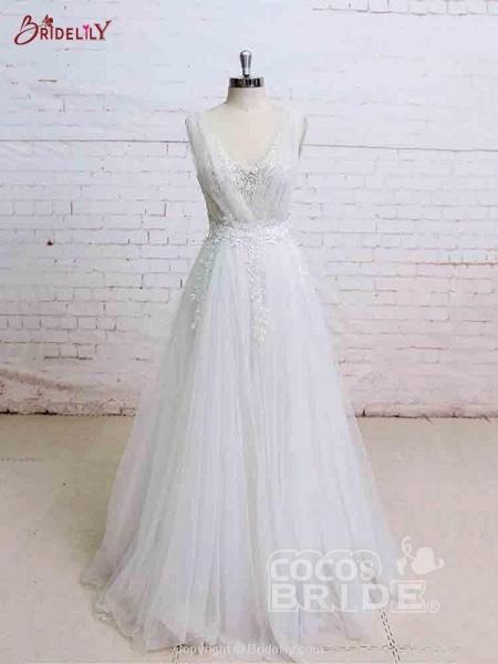 Glamorous V-Neck Backless Floor-Length Wedding Dresses_3