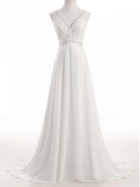 Elegant V Neck Lace Chiffon A-Line Wedding Dresses_1