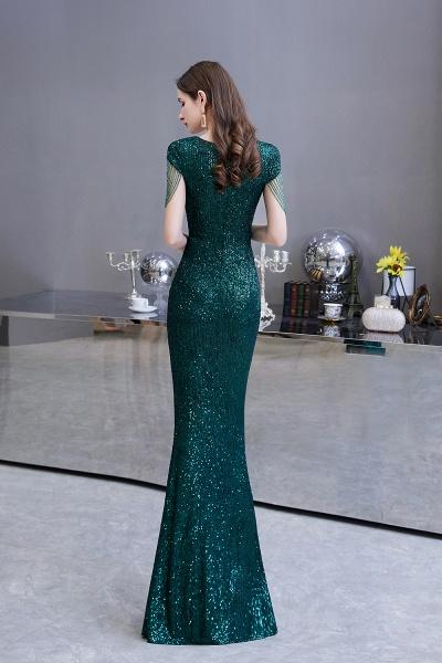 Elegant Cap Sleeve Green Sequins Long Prom Dress_7