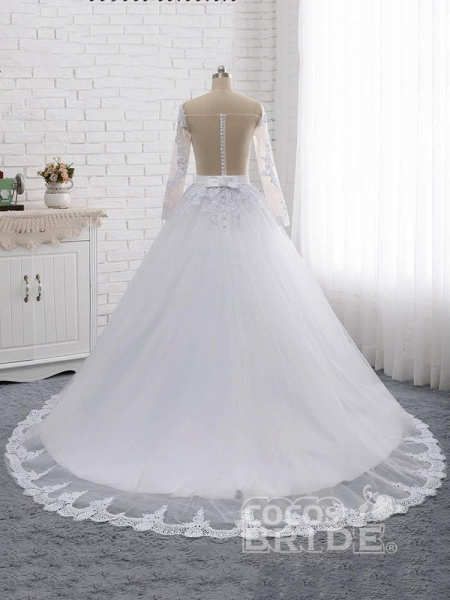 Elegant Long Sleeves Lace Covered Button Ball Gown Wedding Dresses_2