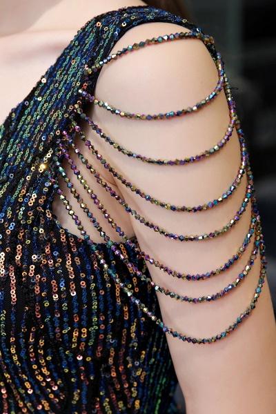 V-Neck Sequins Long Evening Dress With Split_16